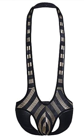 iiniim Lingerie Homme Maillot de Corps Ouvert Fesse Culotte Bikini Bodysuit  Sport Sangle sous-vêtements b2c4ec32c1a