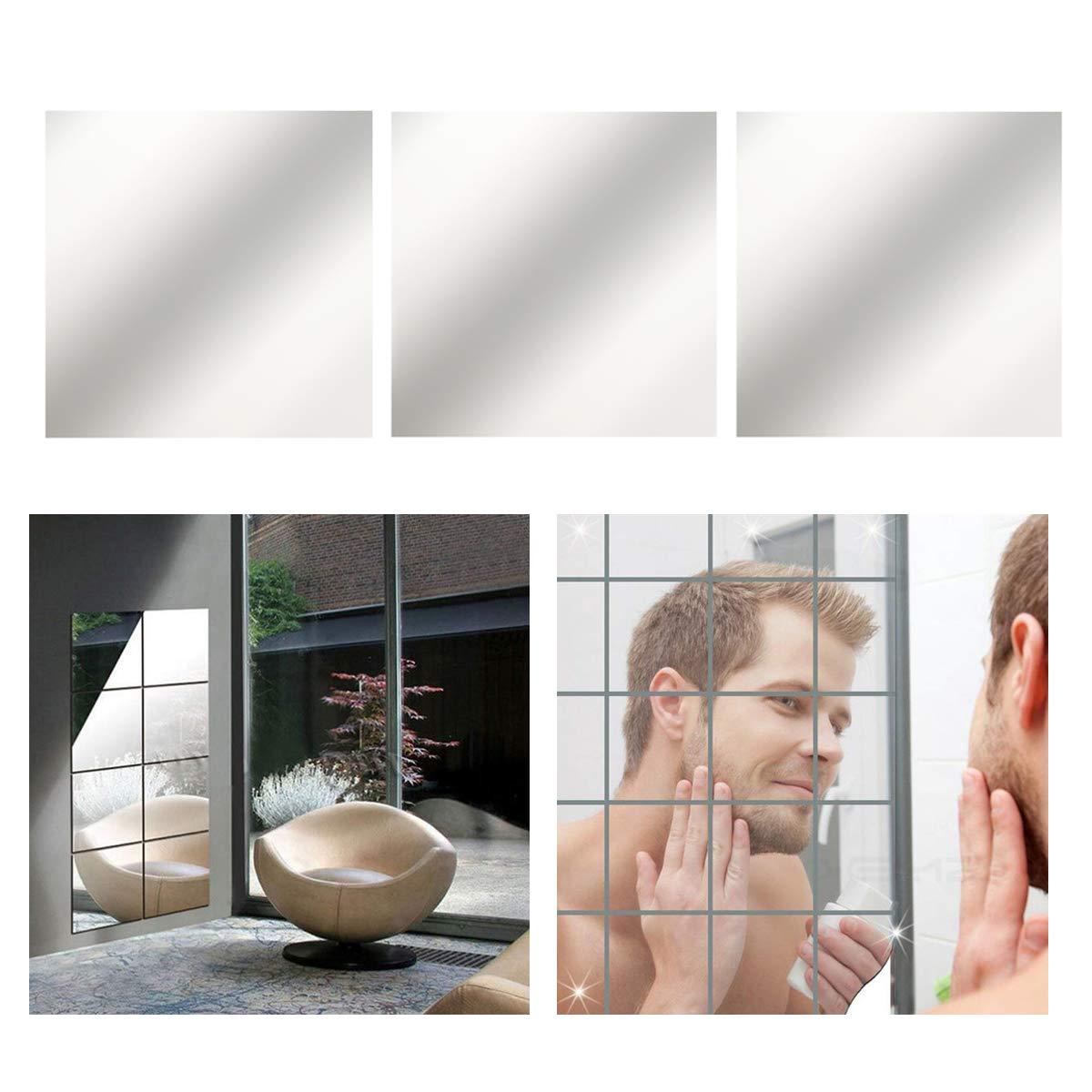 Xemz 3D specchio, specchio da parete adesivi, autoadesivo plastica specchio mosaico, stile moderno DIY specchio decorativo parete sfondo, adesivi per decorazione casa camera da letto soggiorno