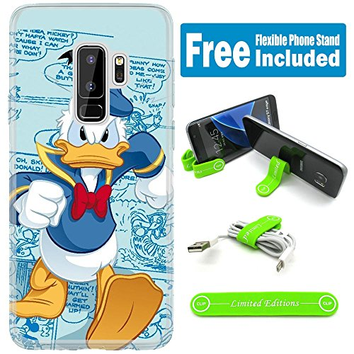 [Ashley Cases] For Samsung Galaxy [ S9+ ] [ S9 Plus ] Cover Case Skin With Flexible Phone Stand - Donald Duck Mad Walking