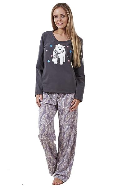 Ex Famous Store - Pijama - para mujer gris Grey Animal 44