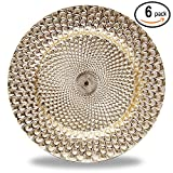 "Fantastic:) 6pcs/Set New Claassic Design Round 13""x13"" Charger Plates with Shinny Finish (Peacock Gold)"