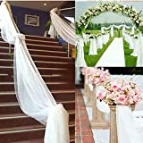 Bluelans White 9M Sheer Organza Swag Fabric Top Table Swag DIY Wedding Car Party Stair Bow Valance Decorations (White)