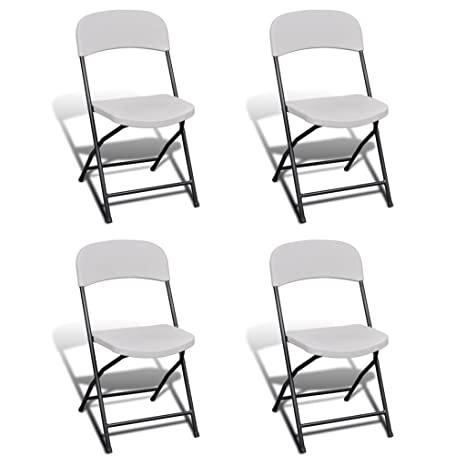 Anself - Set 4 sillas plegables blancas para jardín,hechas ...