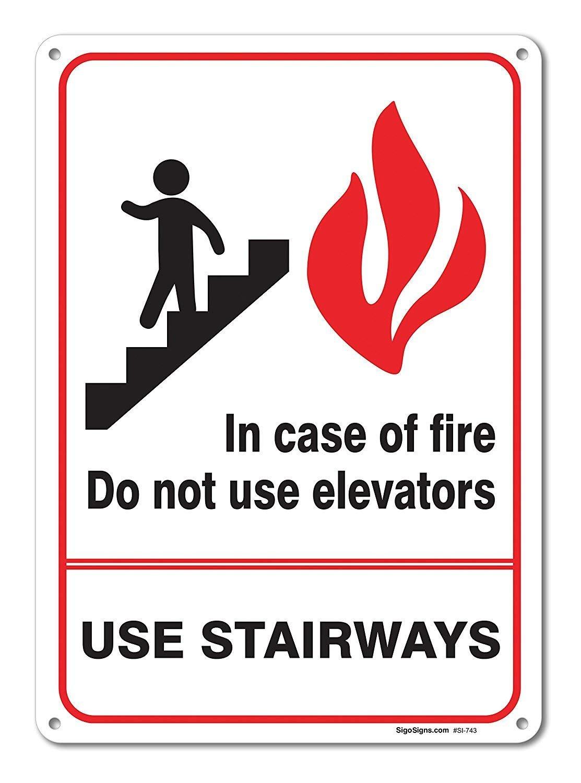 En caso de incendio no utilizar cartel grande de Ascensores ...
