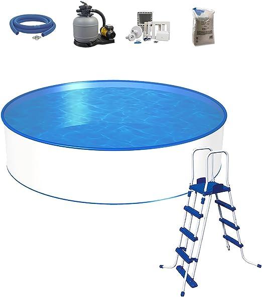 Pool Set, tamaño a elegir, profundidad 120 cm, piscina con pared de acero 0, 45 mm, 0, 3 mm pool pantalla, seguridad Escalera, filtro de arena SF con de 6 Vías de
