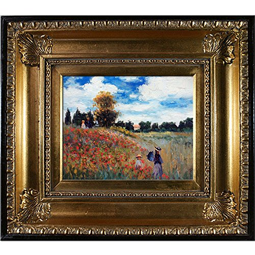 overstockArt MON2599-FR-650G8X10 Monet Poppy Field in Argenteuil Oil Painting with Regency Gold Frame, Gold Finish (Argenteuil Field Poppy)