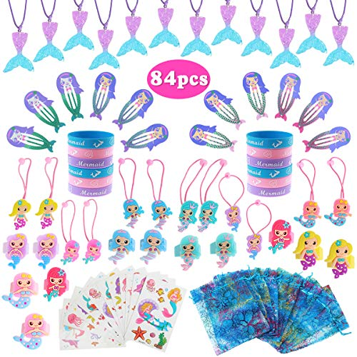 Mermaid Party Favors (Mermaid Party Favors Supplies, 84Pcs Mermaid Tail Necklace Bracelet Ring Hair Clip Hair Tie Sticker Gift Bag Mermaid Gifts Accessories Set Birthday Party Favors for -Kids)