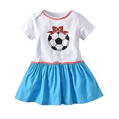 630f4a034429 ALLAIBB Toddler Girls Romper Frilly Dress Soccer Pattern Short Sleeves Size  70 (White)