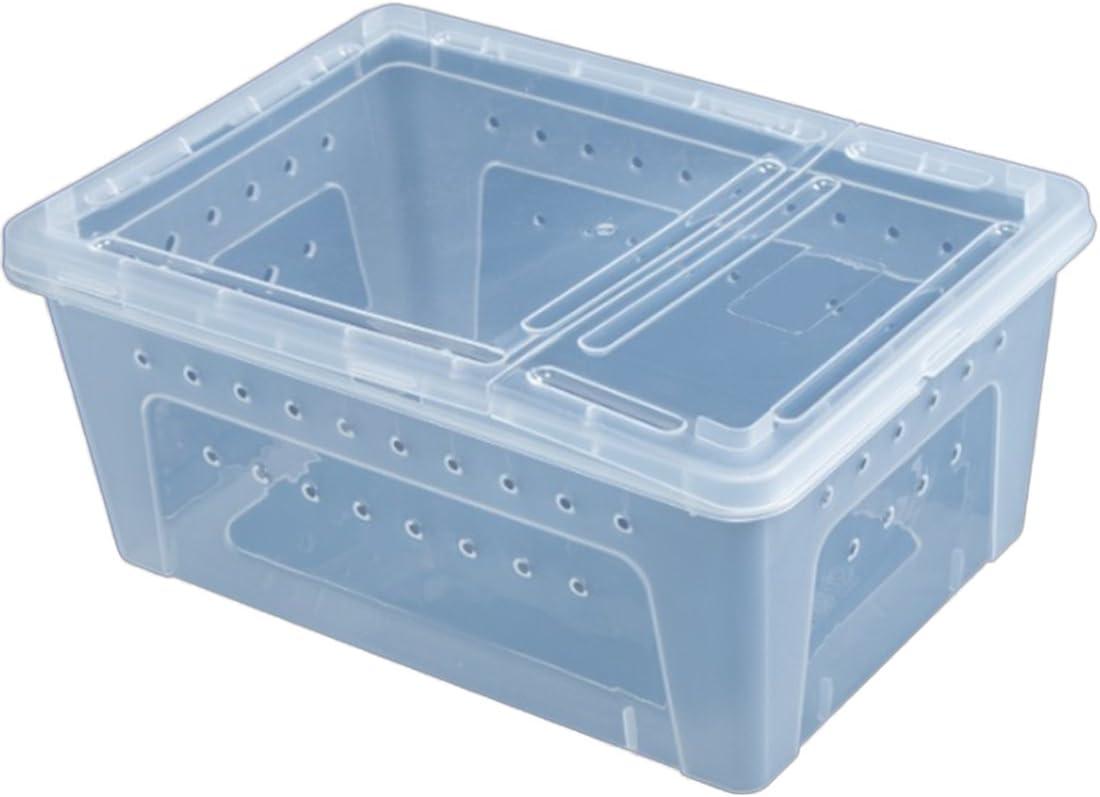 cedarfiny Habitat Reptile Glass Terrarium Natural Comfortable Glass Crawling Box Turtle Feeding Box Container
