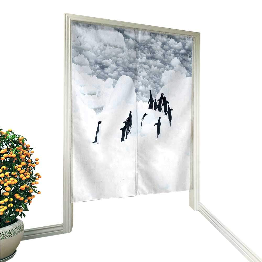 "Leighhome Noren Doorway Curtainpenguins ice Piece in The Ocean Hand or Machine wash in Cold Water 33.5"" Wx59 L"