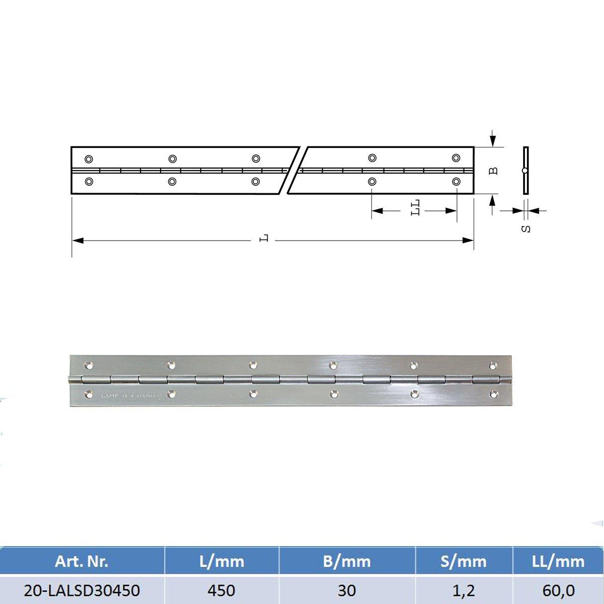 MARETEAM/® Scharnier Edelstahl geb/ürstet 1.4303 450 mm lang