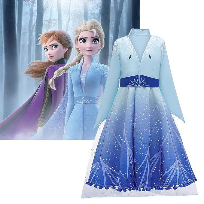 Kindlyperson Vestido de Princesa para niñas, Cosplay para niños Snow Queen Cosplay Vestido Largo, Ropa de Rendimiento de Cosplay de Moda para Frozen 2 ...