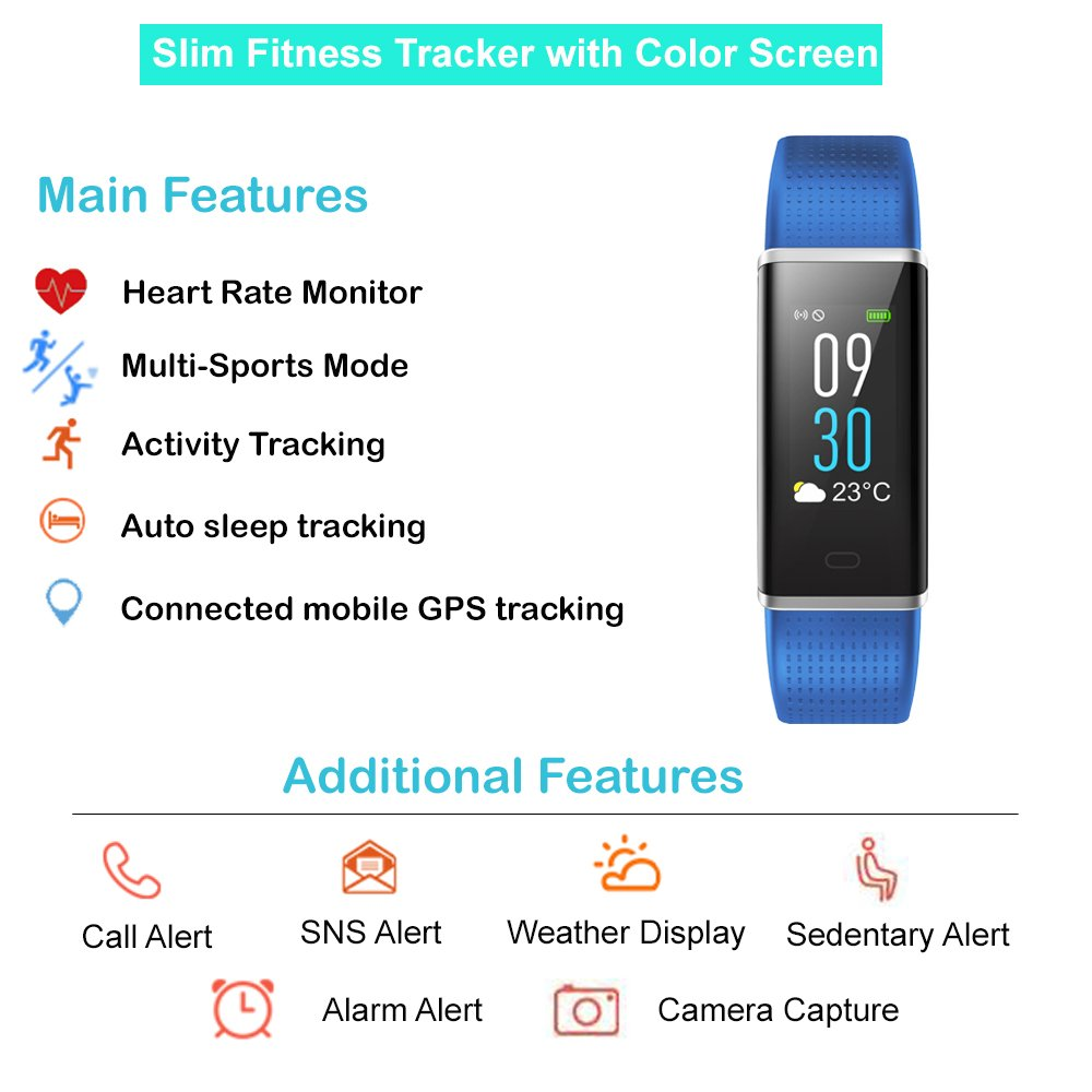 Willful Fitness Tracker, Heart Rate Monitor Fitness Watch Activity Tracker(14 Modes) Pedometer with Step Counter Sleep Monitor Call SMS SNS Notice for Women Men Kids (Color Screen,IP68 Waterproof) by Willful (Image #2)