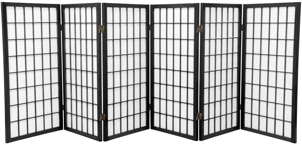 Oriental Furniture 3 ft. Tall Window Pane Shoji Screen - Black - 6 Panels