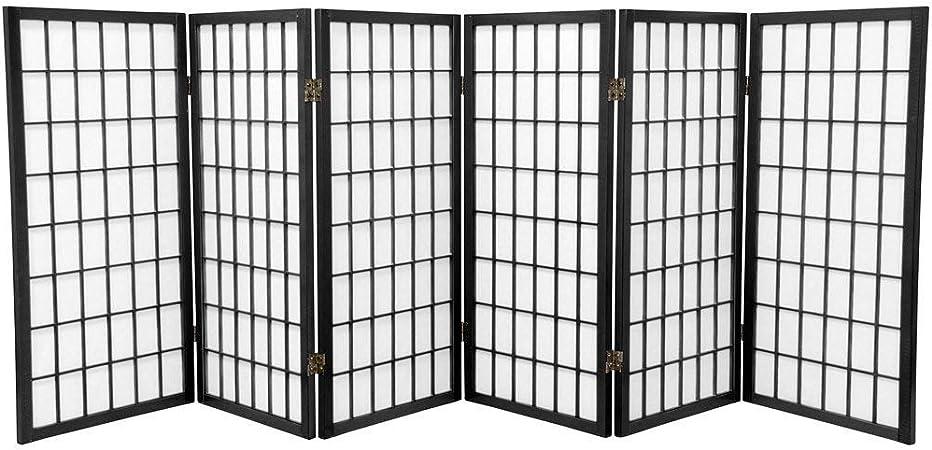 Oriental Furniture 3 ft Black 3 Panels Tall Window Pane Shoji Screen