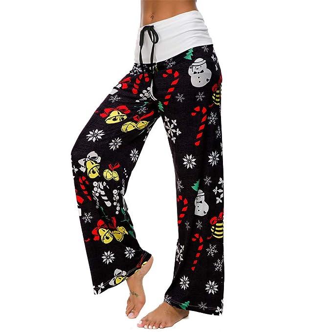Vanvler Womens Drawstring Pant Ladies Cat Print Casual Leggings Yoga Wide Leg Pants Loose (L, Black)