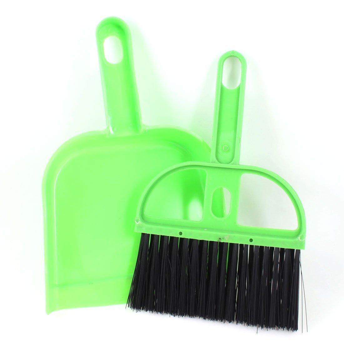 Home Mart Office Home Car Cleaning Mini Whisk Broom Dustpan Set Green Black