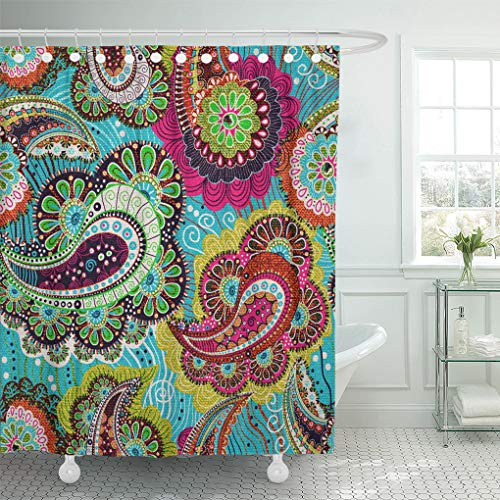 Pink Brown Paisley - Emvency Shower Curtain Pattern Indian Colorful Paisley Blue Pink Summer Floral Patchwork Shower Curtains Sets with Hooks 72 x 72 Inches Waterproof Polyester Fabric