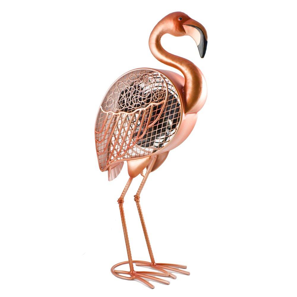 DecoBREEZE Table Fan Single-Speed Electric Circulating Fan, Pink Flamingo Figurine Fan