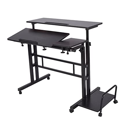 "buy online aed43 ba164 Adjustable Sit to Stand up Desk Standing Desk Laptop Desk Table Stand  Computer Workstation with Keyboard Computer Case Wheels Mobile Height 26.4""  to ..."