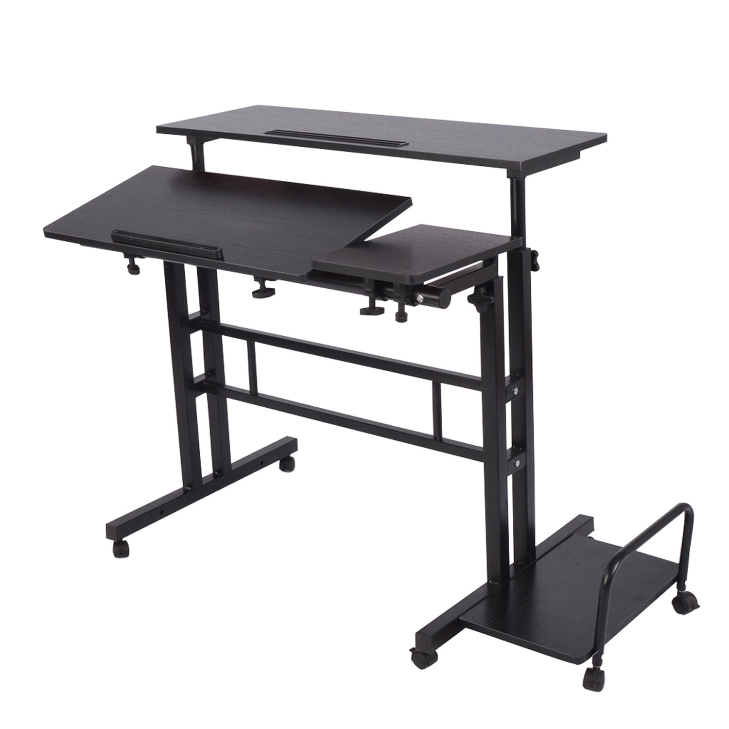 "Adjustable Sit to Stand up Desk Standing Desk Laptop Desk Table Stand Computer Workstation with Keyboard Computer Case Wheels Mobile Height 26.4"" to 45.3"" 2-Tier Portable Desk Home Office Heavy Duty"