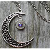 Bullet Moon Necklace with Swarovski Crystal AB