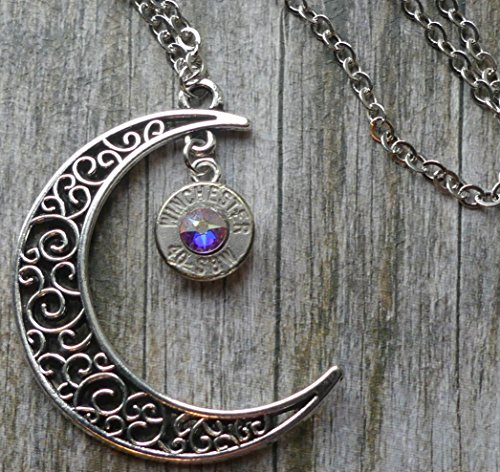 (Bullet Moon Necklace with Swarovski Crystal)