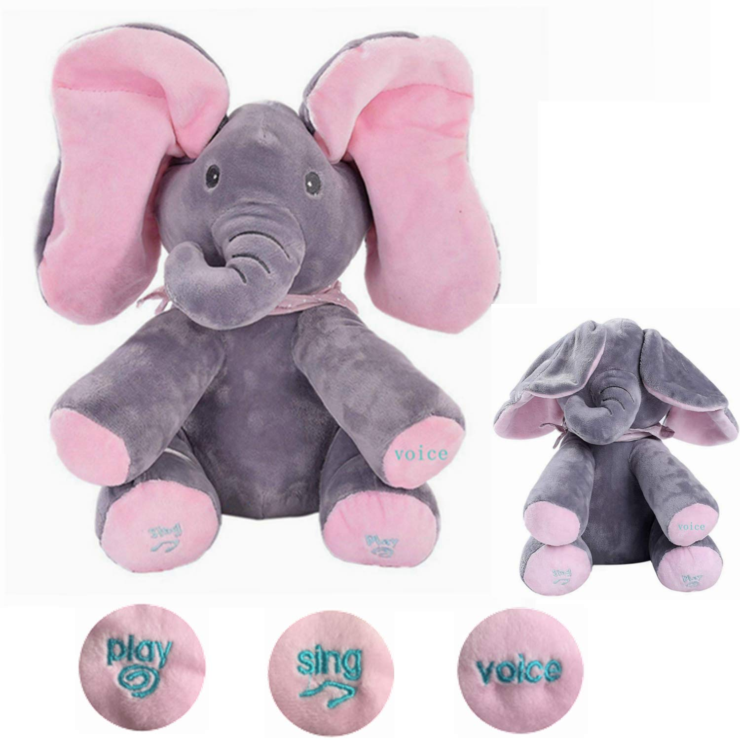 784f707c421 MLSH Cute Baby Toys Animated Flappy Elephant Plush Toy Peek A Boo Animal Doll  Plush Stuffed ...