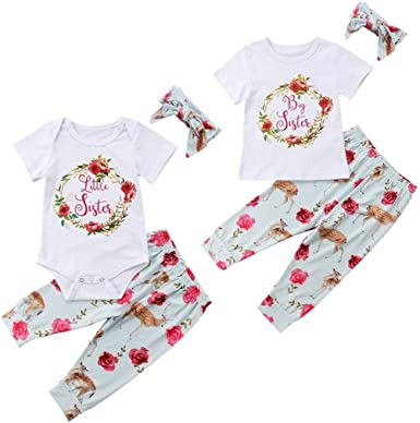 Infant Baby Kids Girls Cute Floral Sisters Dress Romper Matching Outfits Clothes