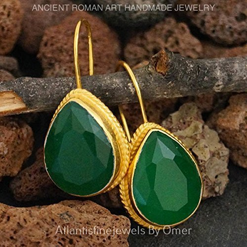 (HANDMADE LARGE DROP GREEN JADE EARRINGS 24K GOLD OVER 925K SILVER BY OMER )
