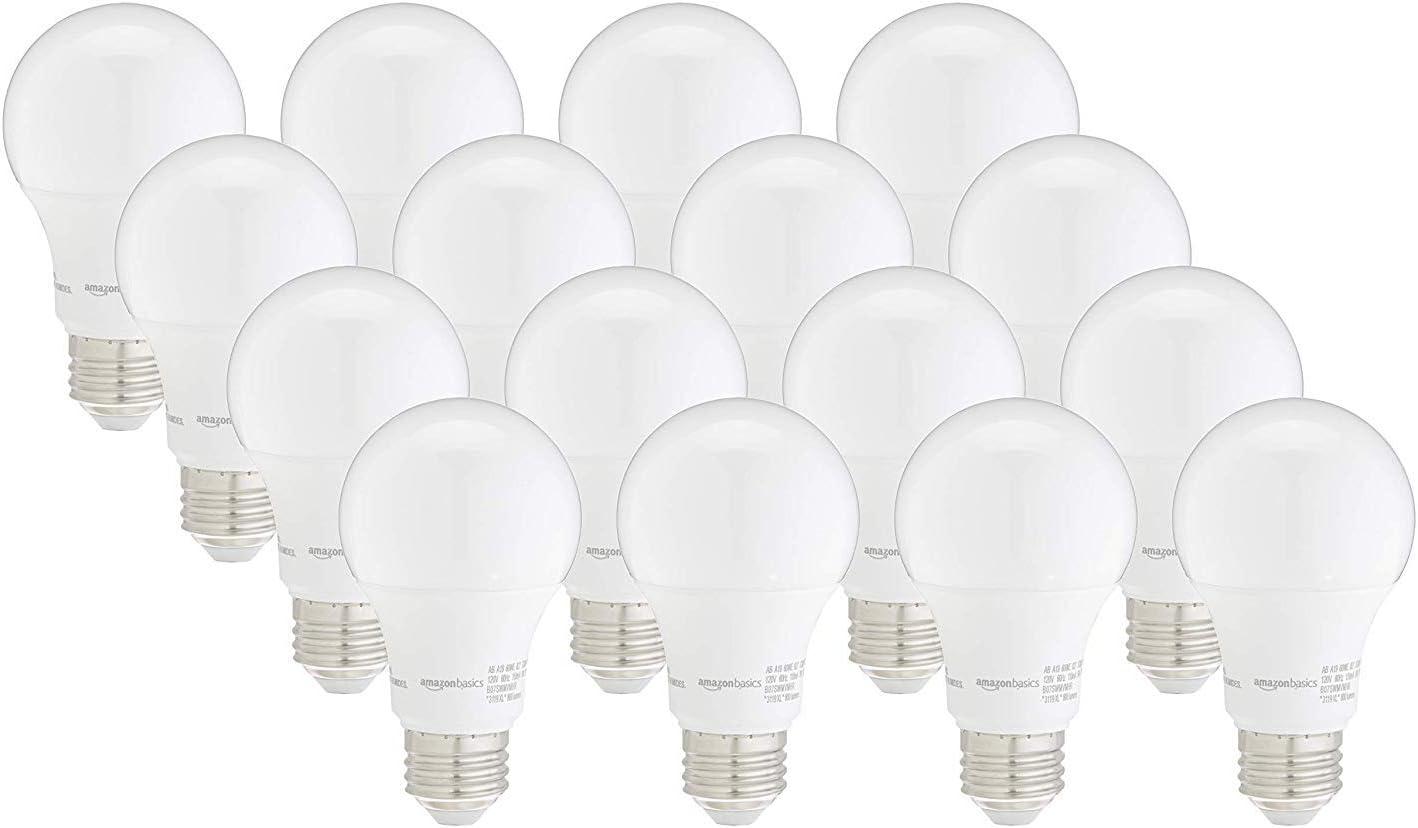 6-Pack A19 LED Light Bulb Soft White Dimmable Basics 40W Equivalent 10,000 Hour Lifetime