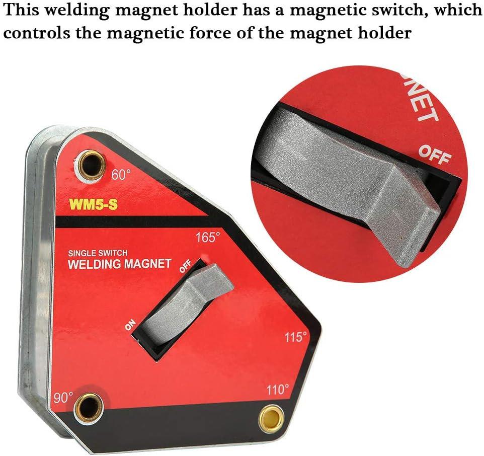 Hakeeta Aimant de Soudure 60/° 90/° 110/° 115/° 165/° Aimants de Soudure Multi-Angles Porte-Outils /à Souder avec Commutateur de Petite Taille.