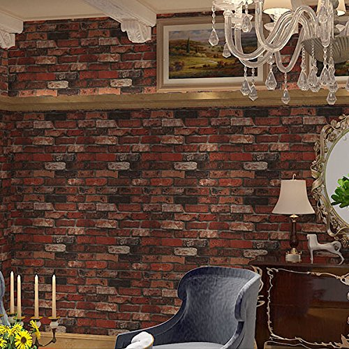 300cmX250cm Deep Embossed 3D Brick Wall Paper Modern Vintage Brick Stone Pattern Wallpaper Roll For living room Red Wall covering Decor by ZLJTYN