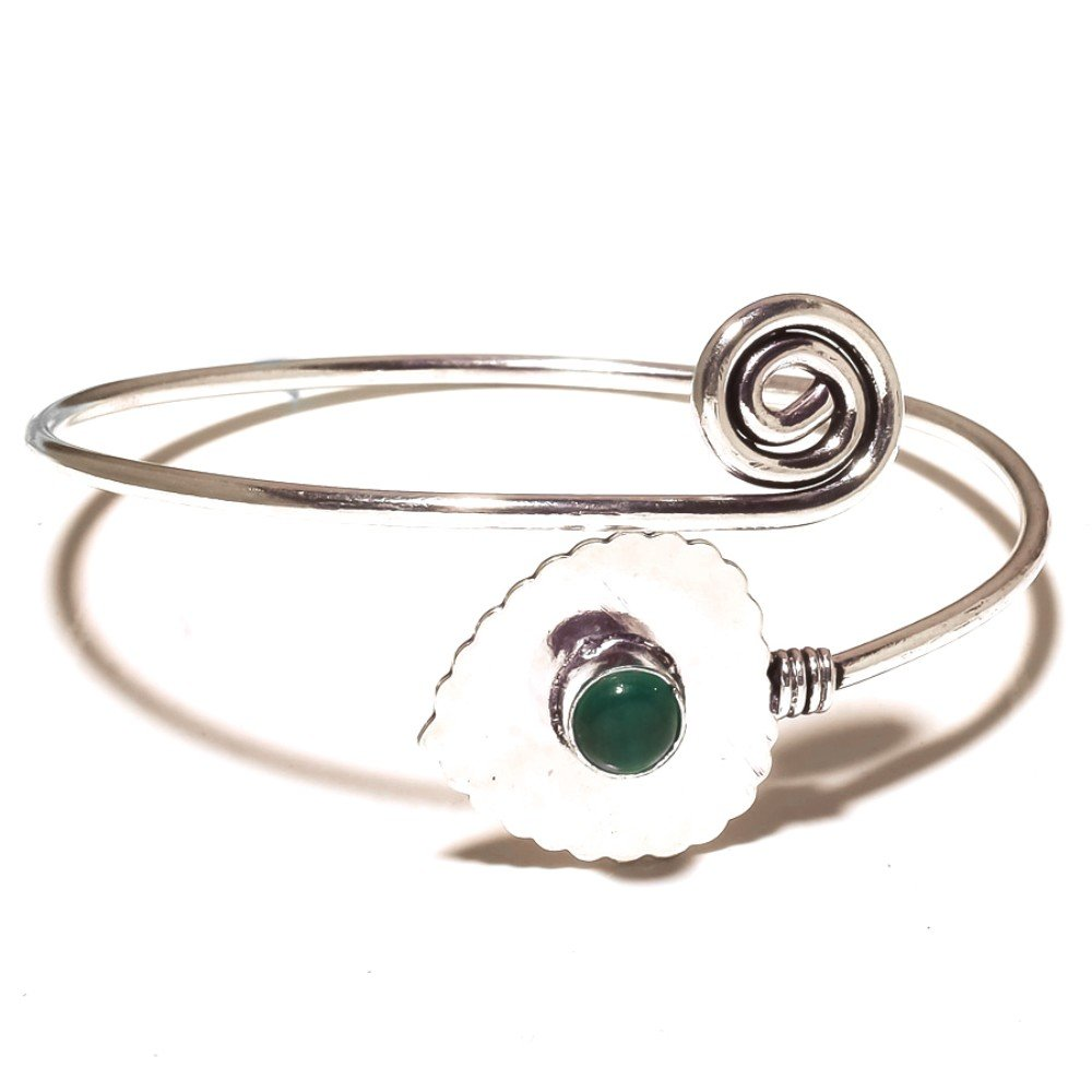 Girls Gift Jewelry Green Onyx Sterling Silver Overlay 12 Grams Bangle//Bracelet Free Size