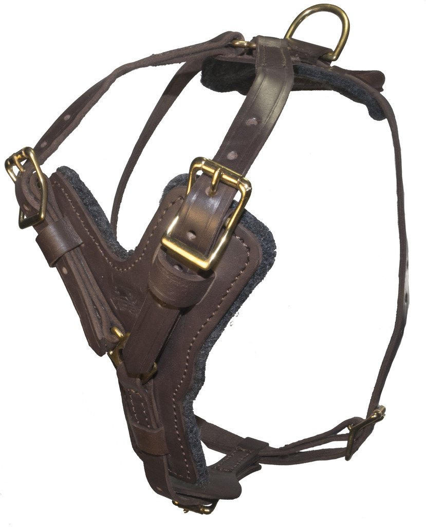 Viper Typhoon Multi-Function Leather Dog Pet Harness Black or Brown for Large Dogs Tracking Predection Police, 32 -40 , Brown