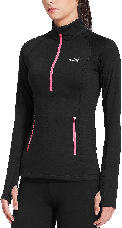 BALEAF Women's Thermal Fleece Half Zip Thumbholes Long Sleeve Running Pullover: Clothing