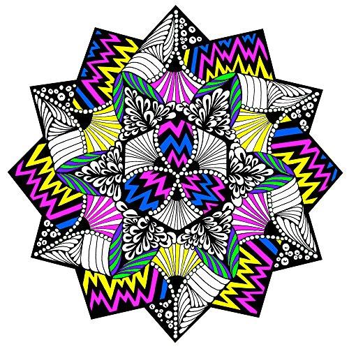 Stuff2Color Zig Zag Fuzzy Velvet Coloring Mandala - 20x20 Inches -