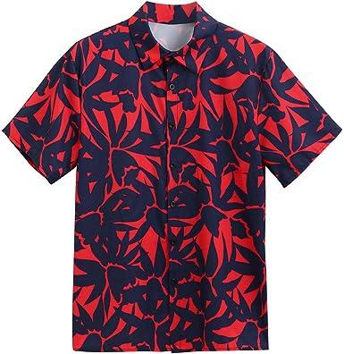 Mens Boys Dress Shirt,RNTOP Hawaiian Short Sleeve Shirt Aloha Flower Print Casual Button Down Beach Shirts