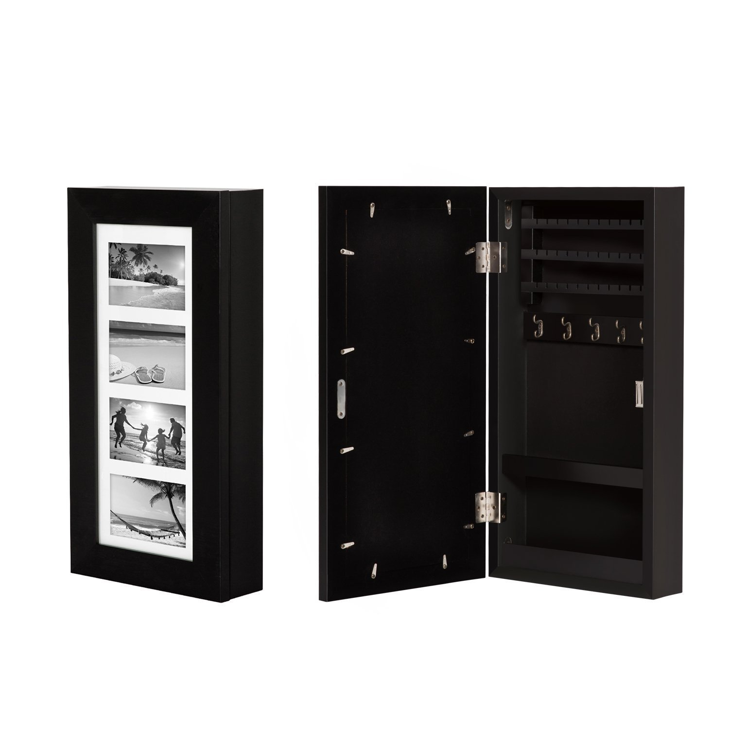 Kinbor Wall Mounted Jewelry Armoire Cabinet Organizer Storage w/4 Picture Frames Black