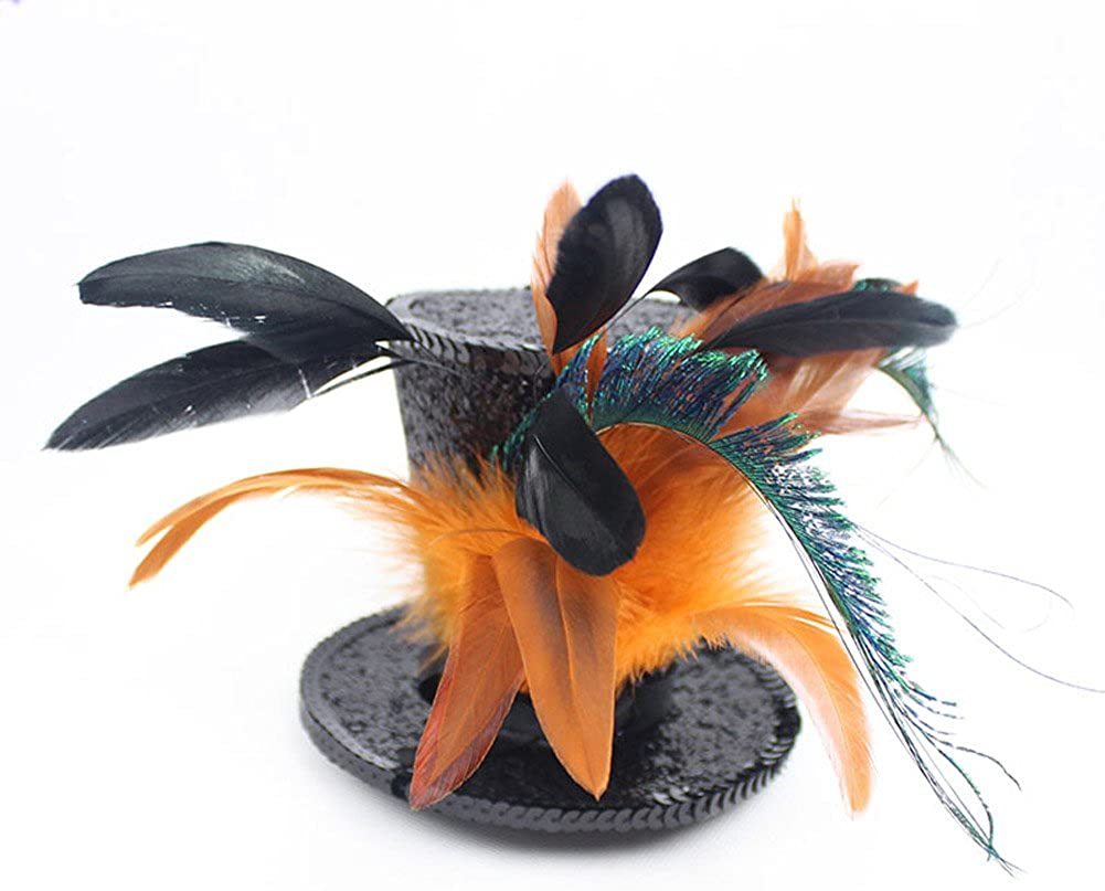 Song Qing Kentucky Derby Races Mini Top Hat Feather Fascinator Tea Party Cosplay
