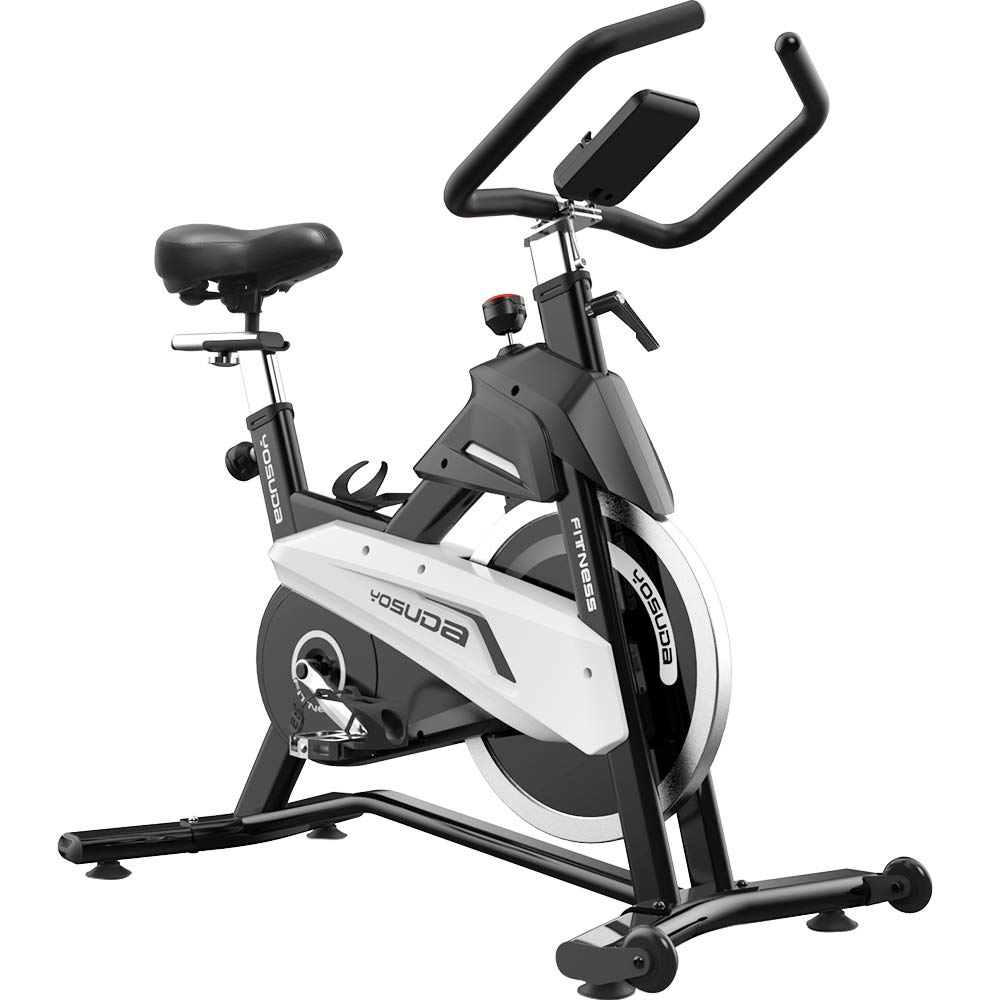 YOSUDA Indoor Exercise Bike Stationary - Cycling Bike with Belt Drive and 43 Lbs Flywheel (L-007) (Black)