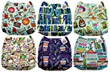 Mama Koala One Size Baby Washable Reusable Pocket Cloth Diapers, 6 Pack with 6 One Size Microfiber Inserts (Book Worm)