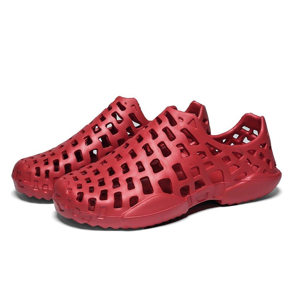 Sandalias Zuecos de los Hombres Tacón Plano Slip On Hollow Vamp Beach Shoes 39 EU Rojo