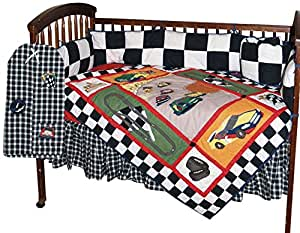 Patch Magic Race Car Crib Bedding