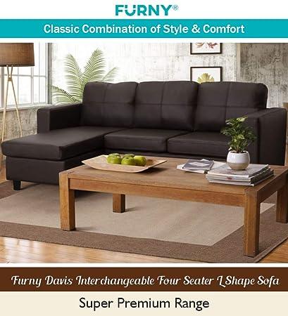 Furny Davis 3 1 Ottoman L Shape Leatherette Sofa Brown Amazon In