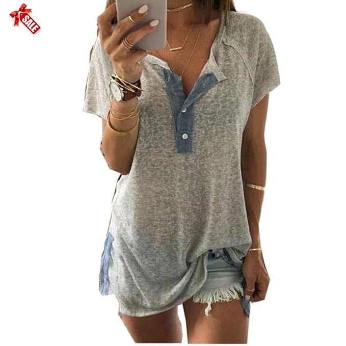 Blusa con Botones Gris, Covermason Las Mujeres Sueltan la Blusa Ocasional del Botón Camiseta Camisetas sin Mangas: Amazon.es: Ropa y accesorios