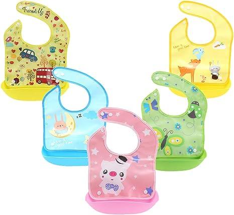 Z-Chen Pack de 5 Baberos de Silicona con Bolsillo para Bebé ...