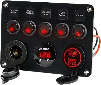 Qii lu DC12-24V 4 Interrupteur /Étanche Avec Interrupteur Rouge Pour Voiture Bateau Marine