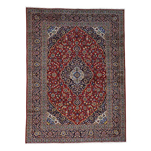 - 1800 Get A Rug Hand-Knotted Red Semi Antique Persian Kashan Full Pile Rug (9'9 x12'10)