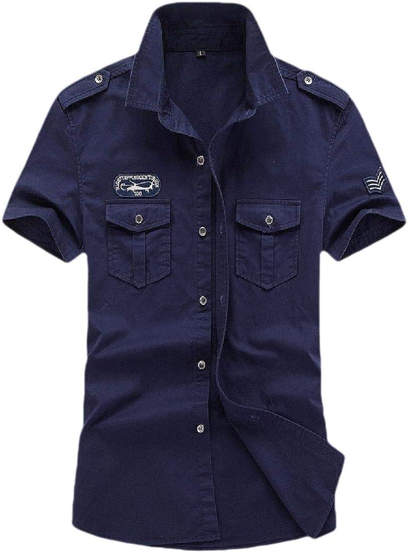 Cargo Work Shirt Beloved Men Top Button Short Sleeve Military Style Shirt